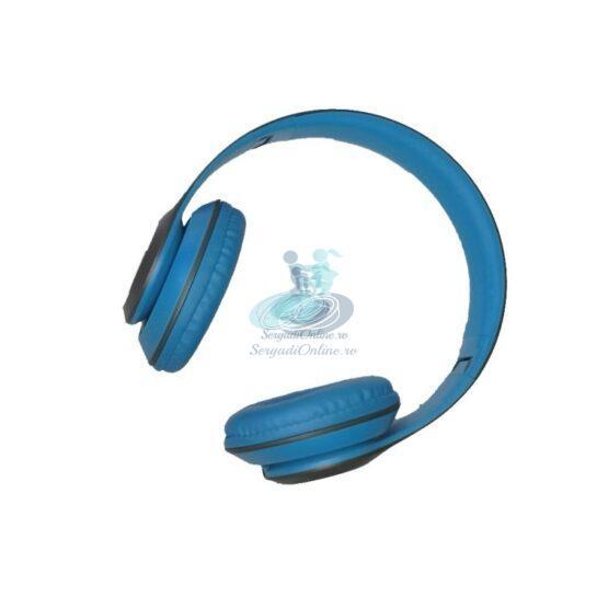 Casti Bluetooth cu Microfon si Radio P15 Albastru