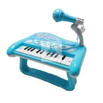 Pian cu microfon, sunete reale si melodii demo - bleu