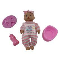 Bebelus 27 cm cu olita vorbeste si canta in lb romana cu accesorii mancare roz