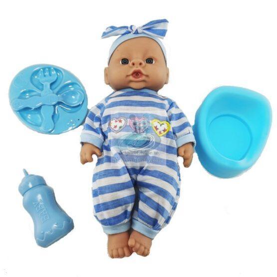 Bebelus 27 cm cu olita vorbeste si canta in lb romana cu accesorii mancare bleu