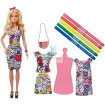 Set de joaca Mattel, Barbie Crayola, cu haine de schimb ce se pot picta