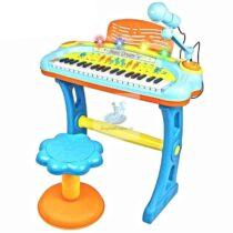 Jucarie Pian multicolor 37 clape, microfon, scaun, lumini si melodii