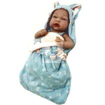 Papusa Bebe Nou Nascut bleu cu scutecel de dormit