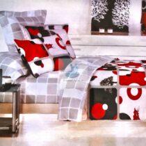 Lenjerie bumbac 6 piese alb-rosu-negru fata dubla