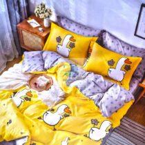 Lenjerie bumbac 6 piese galben cu rate fata dubla