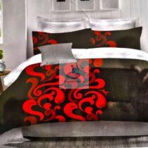 Lenjerie bumbac 6 piese rosu-negru