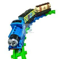 Trenulet electric albastru cu doua vagoane