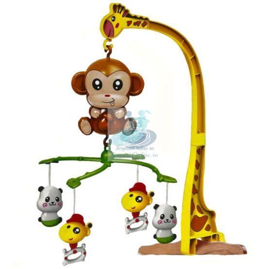 Carusel muzical patut cu figurine din plastic