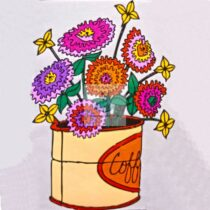 """Set pictura pe numere pentru copii - """"Flori"""" - 30x20 cm, panza pe rama"""