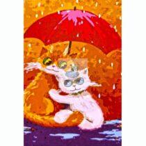 """Set pictura pe numere pentru copii - """"Pisici"""" - 30x20 cm, panza pe rama"""
