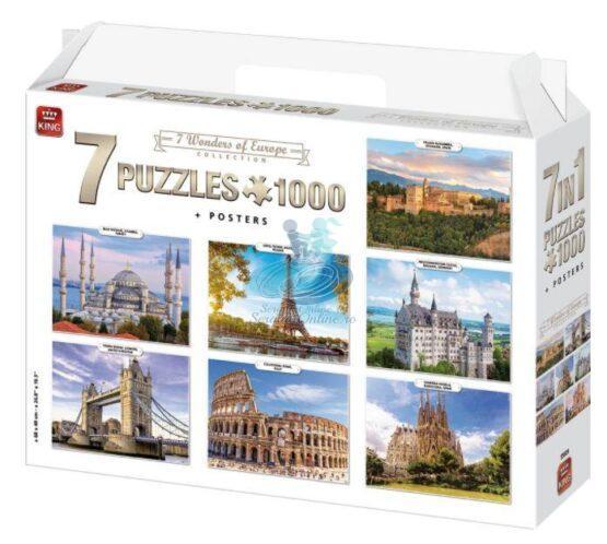 King Puzzle 7 buc * 1000 piese Colectia Minuni ale Europei