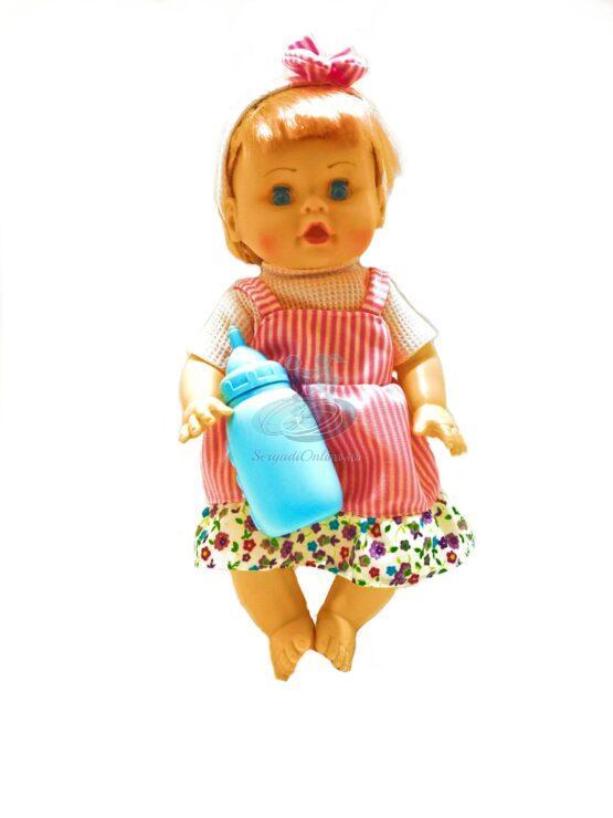 Papusa 30 cm fetita cu biberon rade, plange spune mama