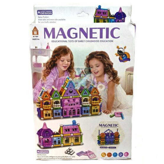 """Joc de construit magnetic  """"Casuta fermecata"""" pentru fetite – 105 piese"""