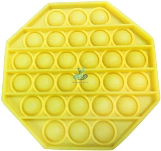 Jucarie antistres POPIT din silicon 12 cm – galben – octogon