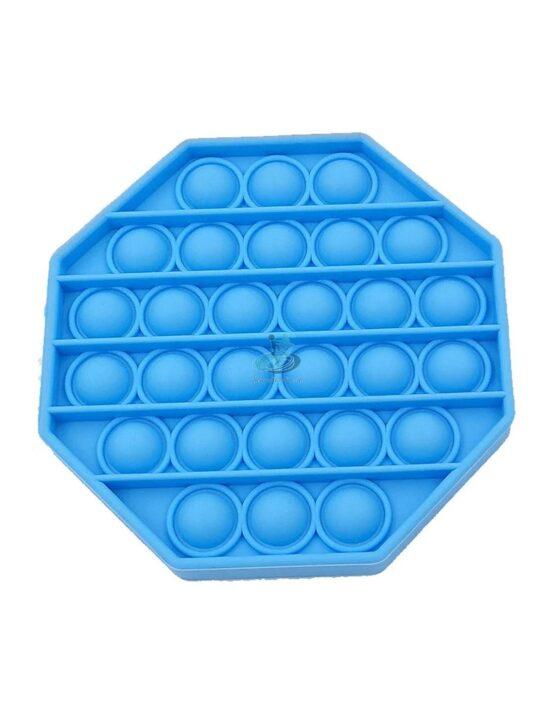 Jucarie antistres POPIT din silicon 12 cm – albastru – octogon