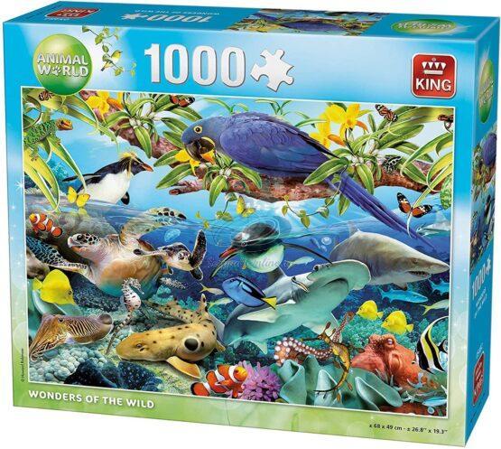 King Puzzle 1000 piese Animale tropicale si păsări minuni ale sălbăticiei – 68*49 cm