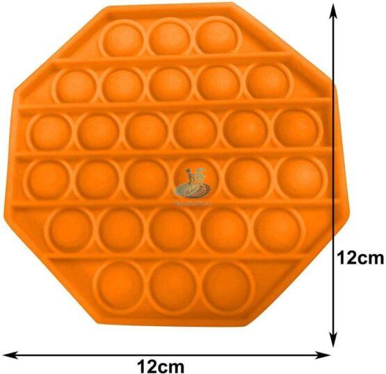 Jucarie antistres POPIT din silicon 12 cm – portocalie – octogon