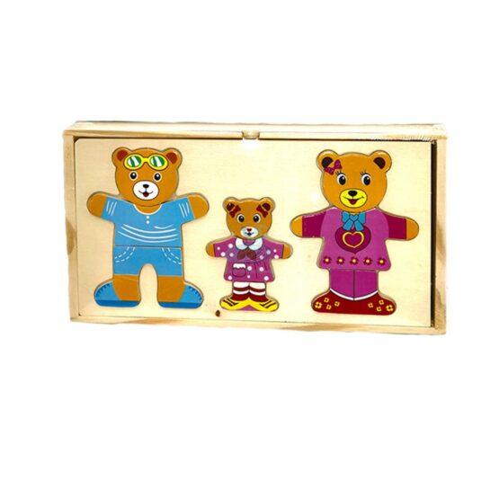"""Puzzle lemn """"Imbraca familia de ursuleti"""""""
