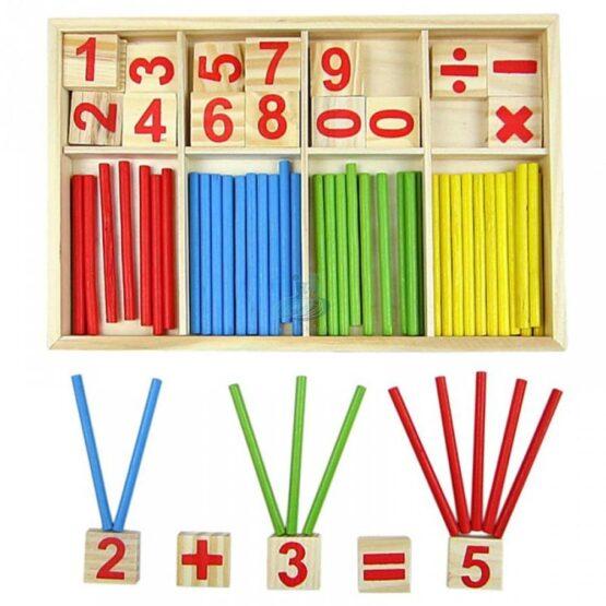 Joc matematic din lemn Montessori – cifre si betisoare