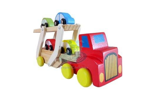 Camion transporter din lemn cu platforma si 4 masinute