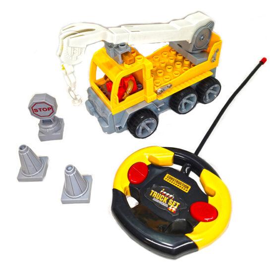 Camion cu macara tip lego 11 piese cu radiocomanda