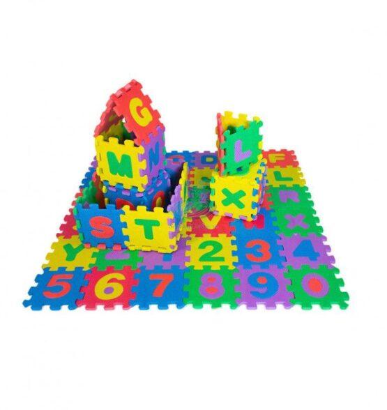 Covoras puzzle litere si cifre 36 piese din spuma