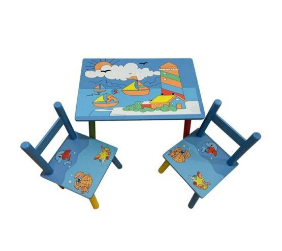 Masuta colorata pentru copii cu 2 scaunele – desen marin