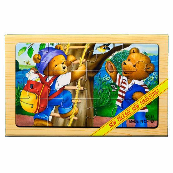 "Puzzle lemn ""Familie ursuleti"" – 4 planse * 12 piese, cutie cu inchidere magnet"