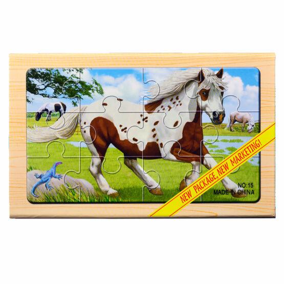 """Puzzle lemn """"Animale domestice 2"""" – 4 planse * 12 piese"""