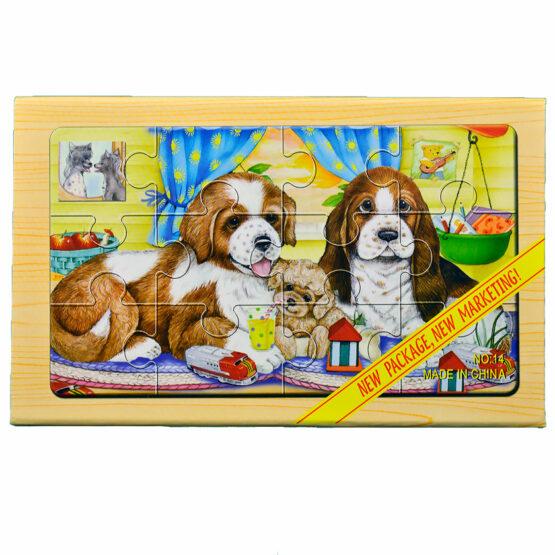 "Puzzle lemn ""Catelusi"" – 4 planse * 12 piese, cutie cu inchidere magnet"
