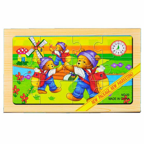 """Puzzle lemn """"Ursuleti"""" – 4 planse * 12 piese, cutie cu inchidere magnet"""
