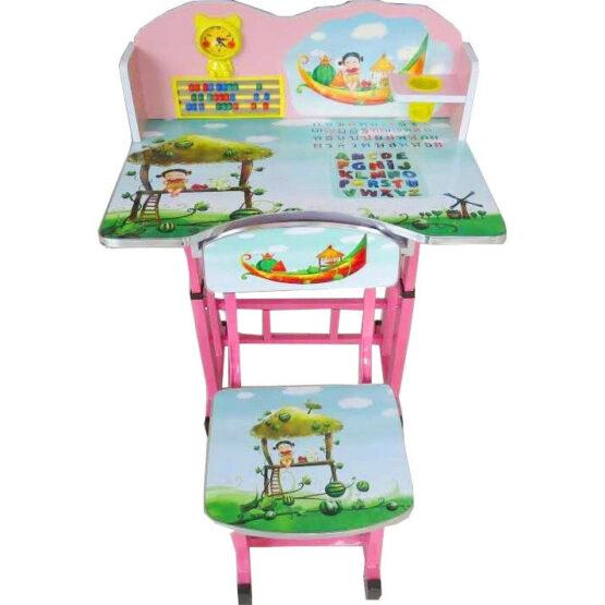 Set birou si scaunel cu numaratoare si ceas, verde, reglabile pe inaltime