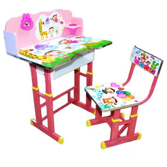 Set birou si scaunel cu numaratoare si ceas, roz, reglabile pe inaltime