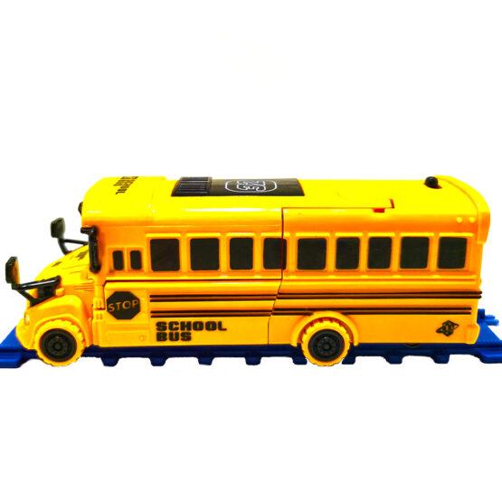 Autobuz galben pentru scolari transformers cu lumini si sunete 18 cm