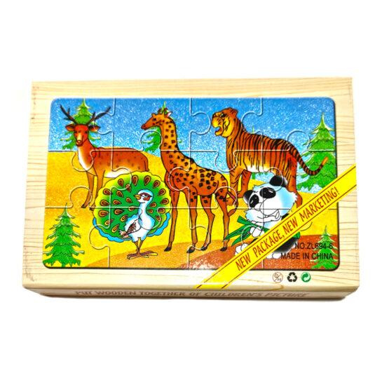 Puzzle lemn animale din jungla – 4 planse * 12 piese, cutie cu inchidere magnet