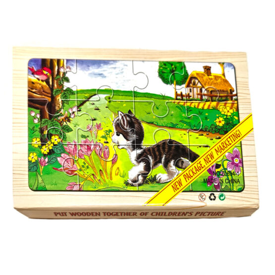 "Puzzle lemn ""Pisicuta"" – 4 planse * 12 piese, cutie cu inchidere magnet"